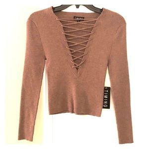 Cropped Sweater Top V Neck Soft Timing